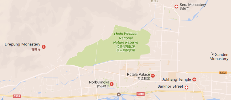 4 Days Holy City Lhasa Tour Package Map