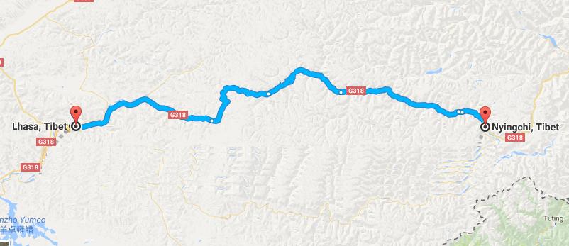 6 Days Lhasa & Nyingchi Tour Map