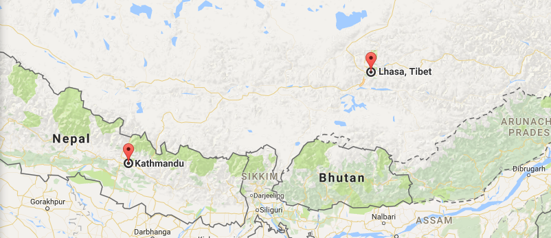 13 Days Lhasa & Kathmandu Overland Tour via Everest Map