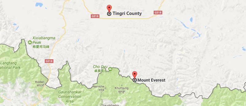 12 Days Tingri to Everest Base Camp Trek Tour Map