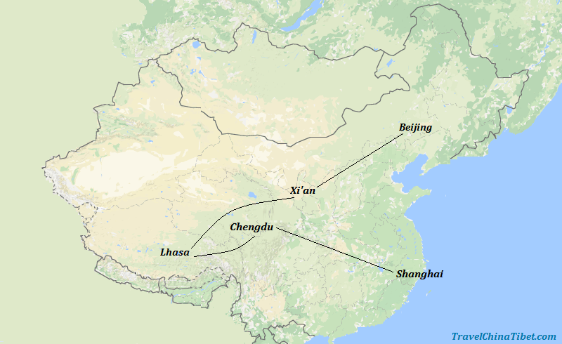 13 Days China Tibet Tour with Lovely Pandas Map