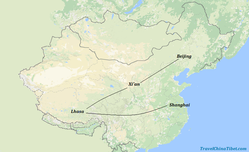 11 Days Best of China and Tibet Discovery Tour Map