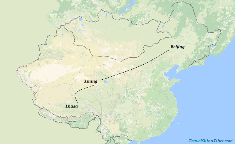 10 Days Beijing Xining Tibet Train Tour Map
