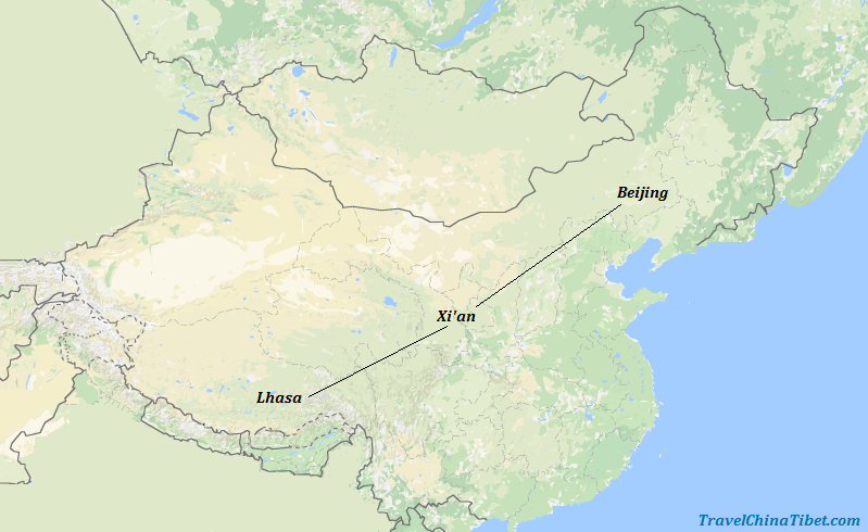 9 Days Beijing Xian Lhasa Tour Map