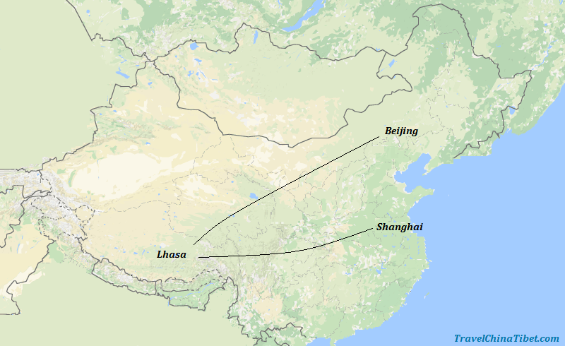 9 Days Beijing Lhasa Shanghai Contrast Tour Map