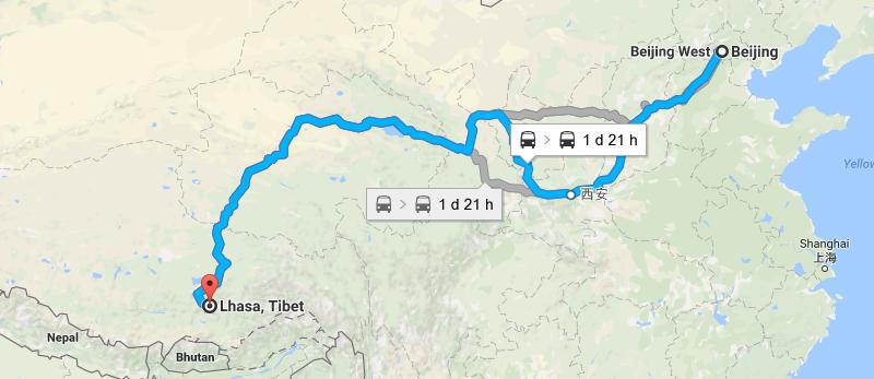 9 Days Beijing Lhasa Train Tour Map