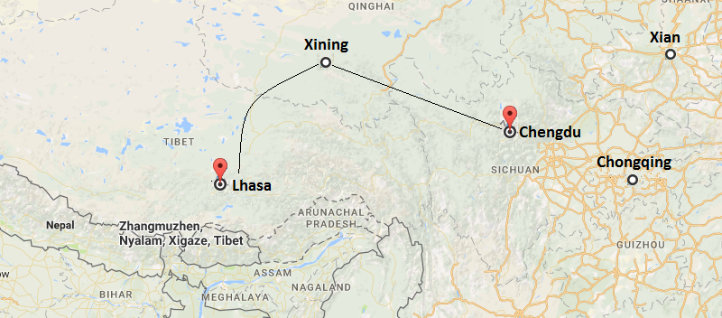 10 Days Xian & Xining & Lhasa & Namtso Lake Train Tour Map