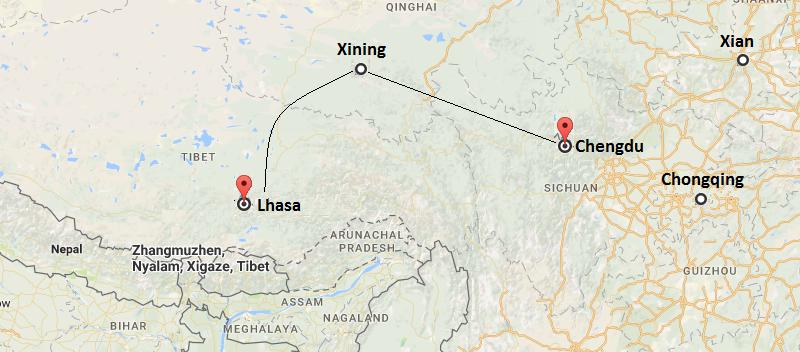 10 Days Chengdu & Xining & Tibet Train Tour  Map