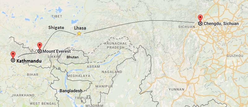 9 Days Chengdu & Everest & Kathmandu Tour Map
