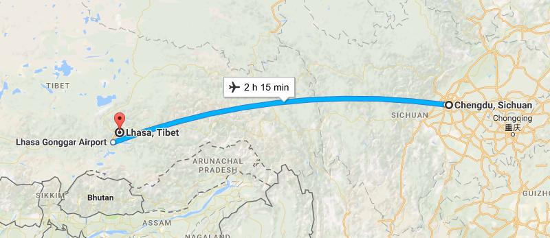 6 Days Lifetime Chongqing & Lhasa Tour By Flight Map