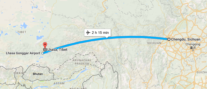 6 Days Lifetime Guangzhou & Tibet Tour By Flight Map