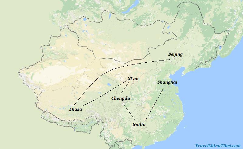 16 Days China & Tibet Impression Tour Map