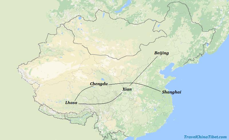 13 Days China Panda Tour with Tibet Discovery Map