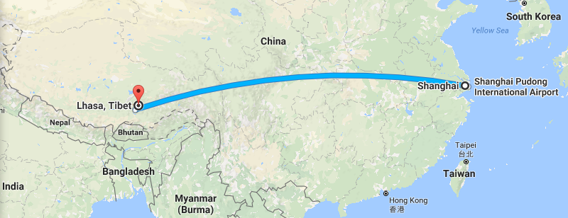 10 Days Shanghai Lhasa Everest Discovery Tour Map