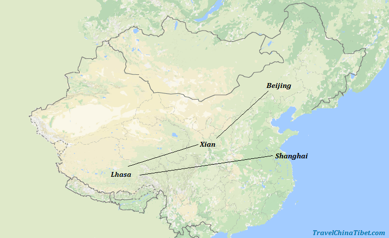 11 Days China Tibet Adventure Tour Map