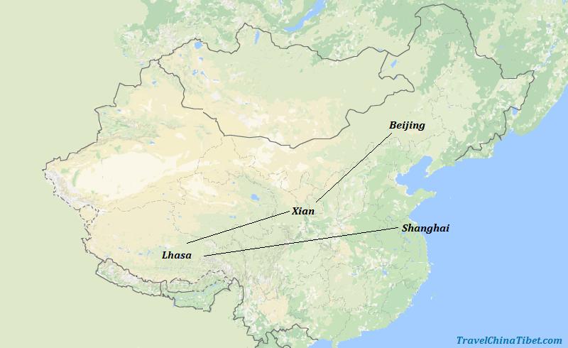 11 Days China Tibet Adventure Tour Map
