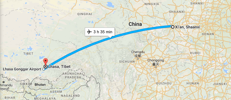 6 Days Lifetime Xian & Tibet Tour By Flight Map