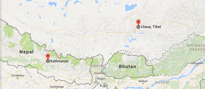9 Days Xian & Everest & Kathmandu Tour Map