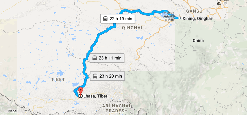 9 Days Xining & Lhasa & Tsedang Tour Map