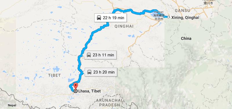 7 Days Xining Tibet via Sky Train Map