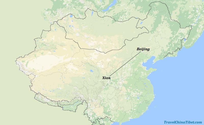 6 Days Beijing & Xian Ancient Capital Tour Map