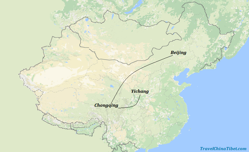 7 Days Beijing Essence & Yangte River Cruise  Map