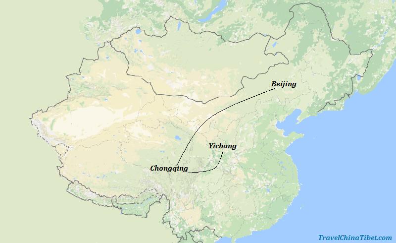 7 Days Beijing Essence & Yangte River Cruise  Map