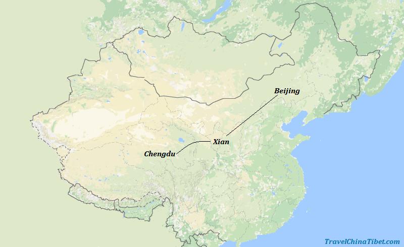 8 Days Ancient China Food Tour with Panda  Map