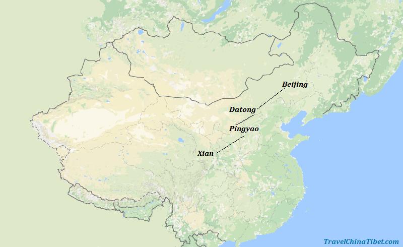 9 Days Beijing & Datong & Pingyao & Xian Historical China Map