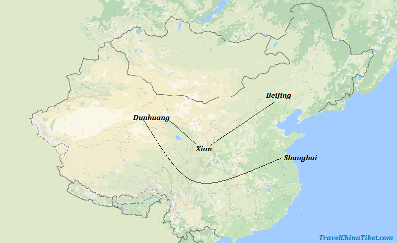 10 Days Silk Road Tour with China Golden Triangle  Map