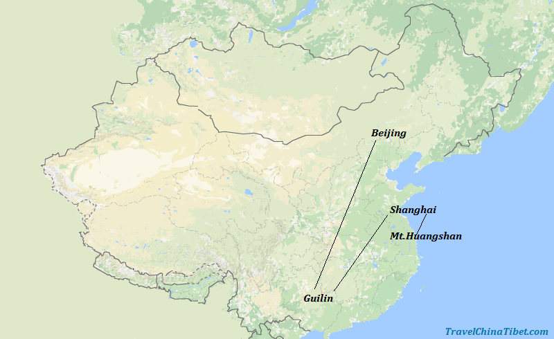 11 Days Treasures of China Tour with Hongcun Vilalge Map