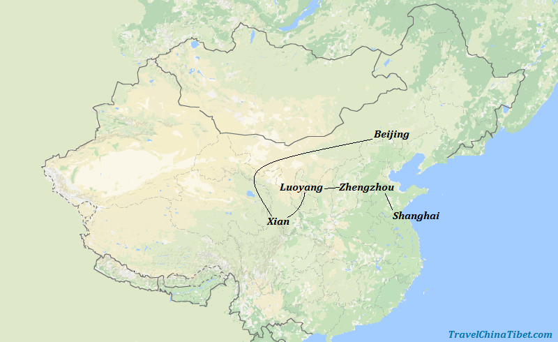 11 Days Chinese Kung Fu Experience Tour  Map