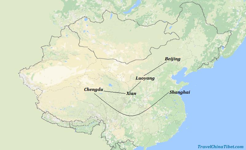12 Days Unforgettable Kungfu Panda Tour Map