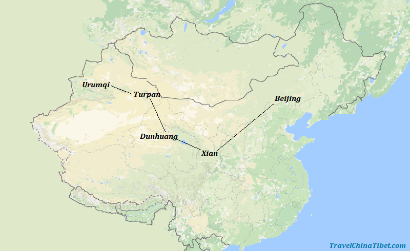 12 Days Silk Road Tour from Beijing  Map