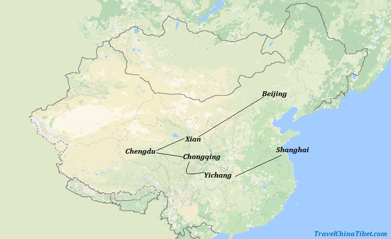 13 Days China Panda Train Tour with Yangtze Cruise Map