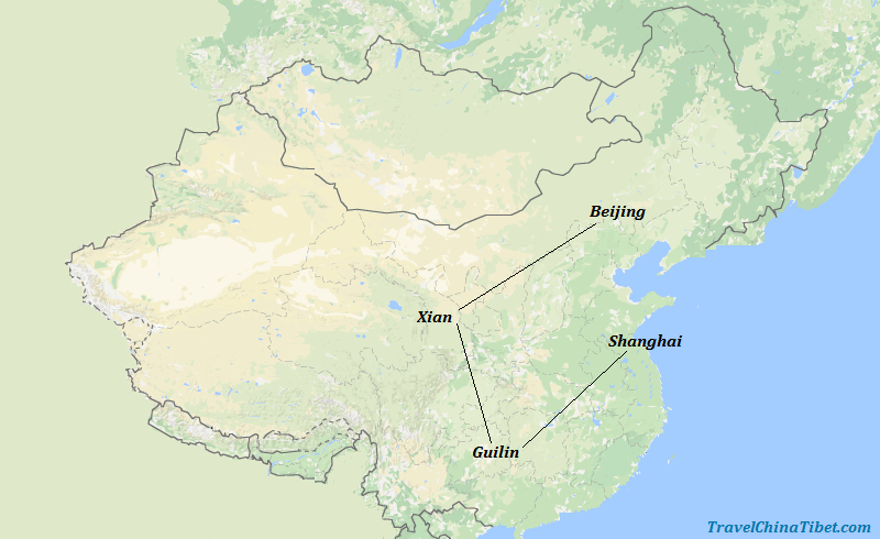 14 Days China Hiking Tour Map