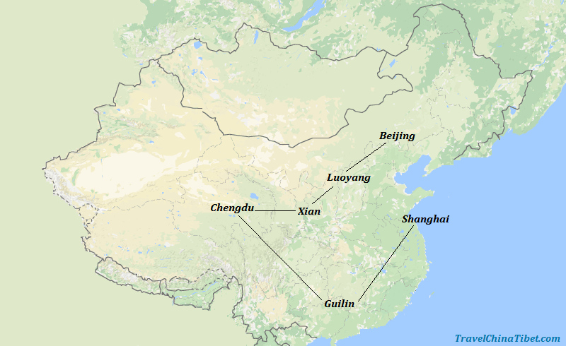 15 Days China Kungfu and Panda Tour Map