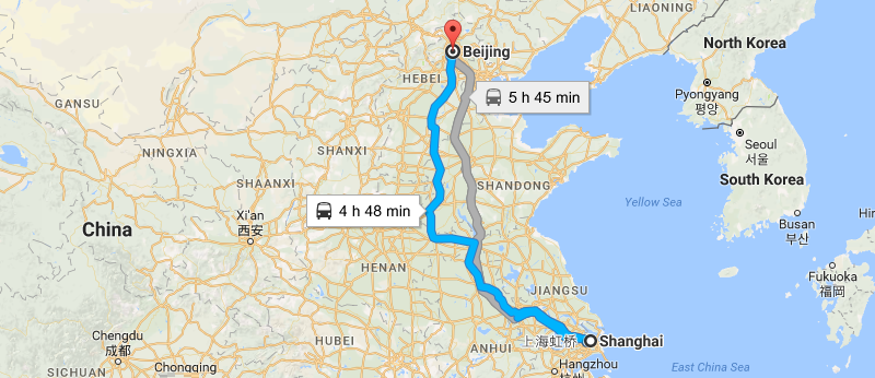 7 Days Shanghai & Beijing Essential Tour Map