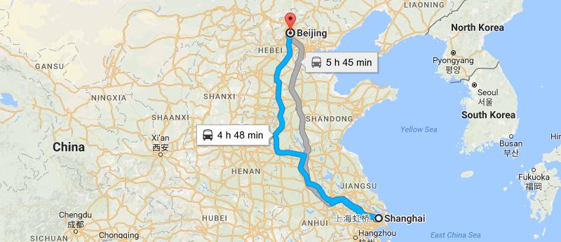 7 Days Shanghai & Beijing Essential Tour Map