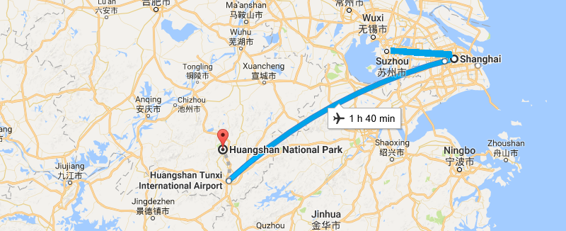 7 Days East China Garden Tour with Mt.Huangshan Climbing  Map