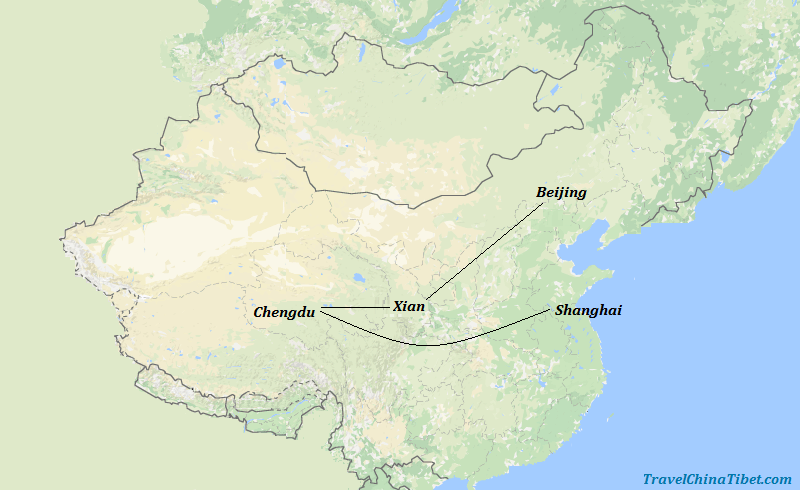 10 Days Golden Triangle Tour with Panda Visit  Map