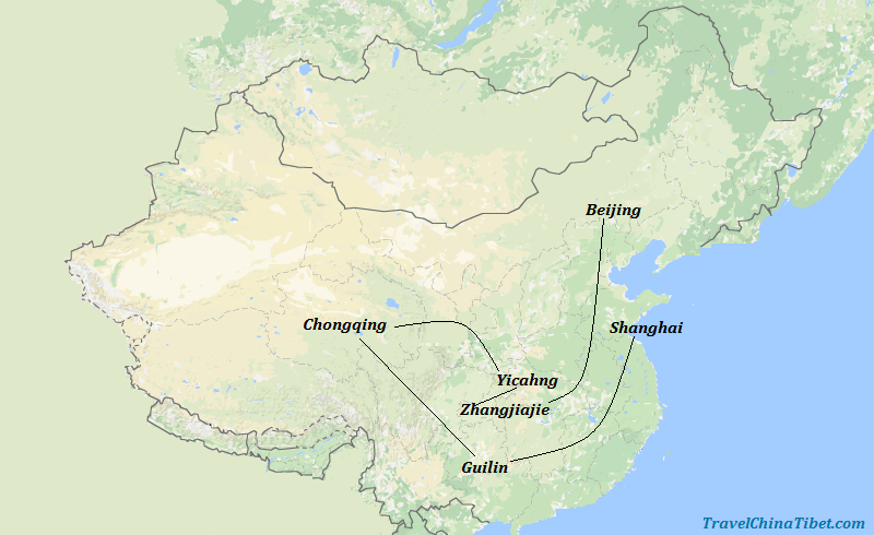 14 Days China Yangtze Tour with Zhangjiajie Landscape Map