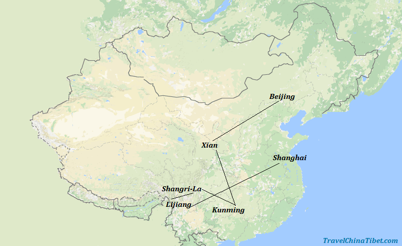 14 Days China Tour with Tiger Leaping Gorge Hiking  Map