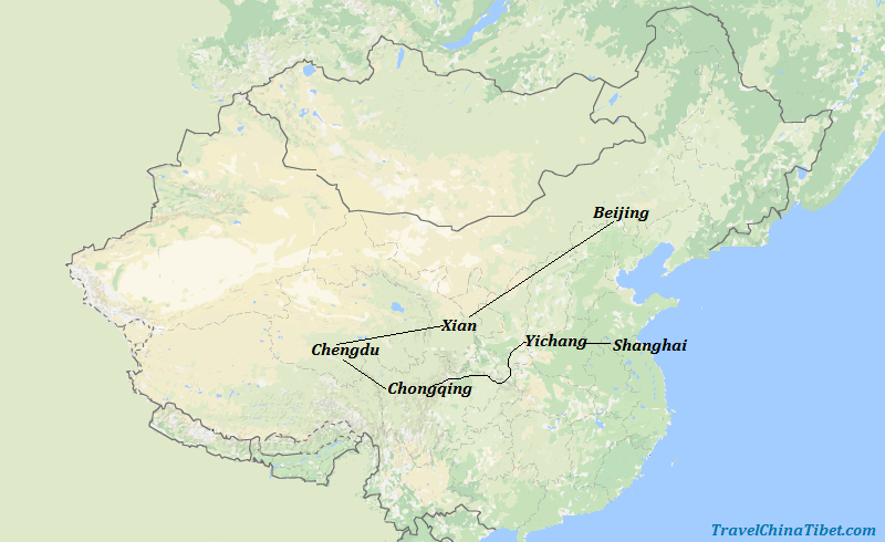 14 Days Best of China with Yangtze Cruise and Panda Visit Map