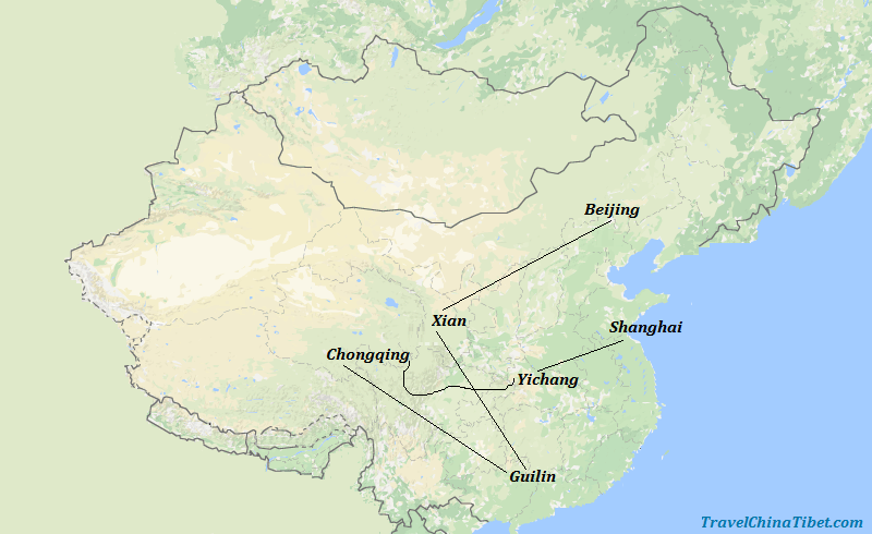 14 Days China Highlights with Yangtze Cruise Map