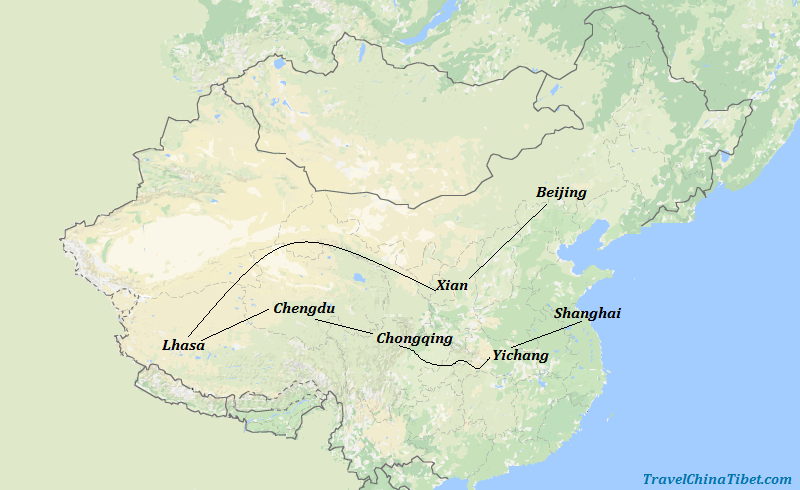 17 Days China Yangtze Tour with Tibet & Giant Panda Visit Map