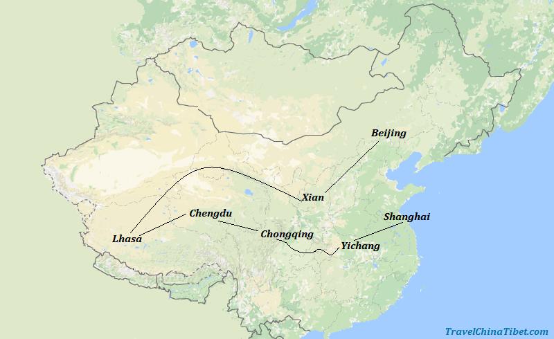 17 Days China Yangtze Tour with Tibet & Giant Panda Visit Map