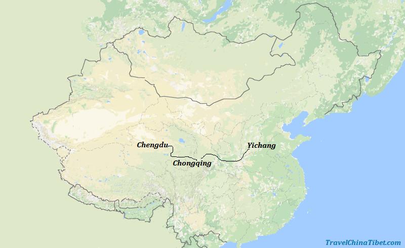 6 Days Yangtze River Cruise Tour from Chengdu Map