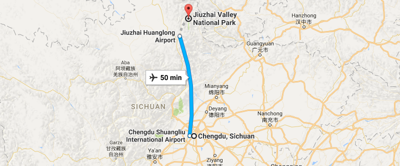 6 Days Chengdu & Jiuzhaigou In-depth Tour Map
