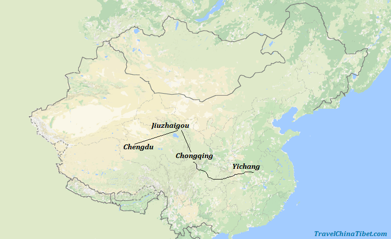 8 Days Chengdu & Jiuzhaigou & Yangtze Cruise Map